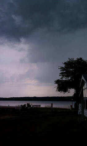 Thunderstorms moving in on Gardner Lake in Salem.  Credit: Chris Bennett/WTNH Report It Photo: Contributed / Connecticut Post Contributed