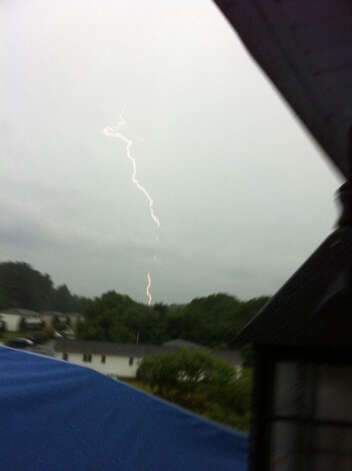 A lightning bolt strikes Canterbury.  Credit: Chuck/WTNH Report It Photo: Contributed