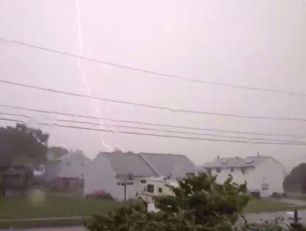 Folks all over the state saw lots of lightning bolts.  Credit: Video still from Paige Mino/WTNH Report It Photo: Contributed