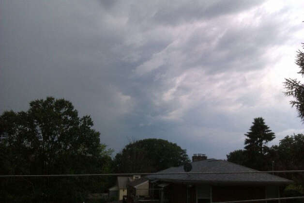 Stormy skies in Meriden.  Credit: Diann Mount/WTNH Report It Photo: Contributed