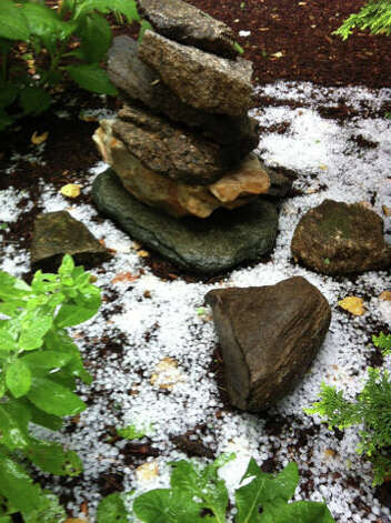 Hail in Huntington.  Credit: Maryanne/WTNH Report It Photo: Contributed