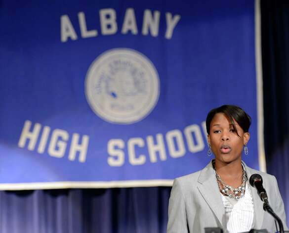 Cecily L. Wilson, an Albany High School graduate was named interim principal at her alma mater by Albany School Superintendent Raymond Colucciello at a press conference held at the Albany High School in Albany, N.Y. June 25, 2012.  (Skip Dickstein / Times Union) Photo: SKIP DICKSTEIN / 00018225A