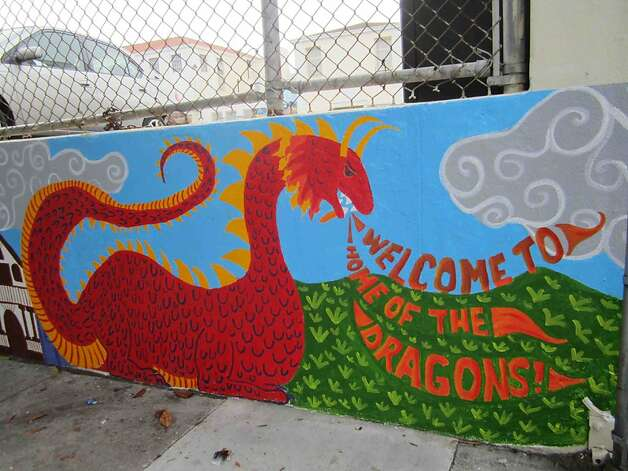 This part of the student-painted mural at Buena Vista Horace Mann K-8 school in San Francisco was completed in 2011 and accidentally painted over earlier this month. Photo: Courtesy Megan McMahon