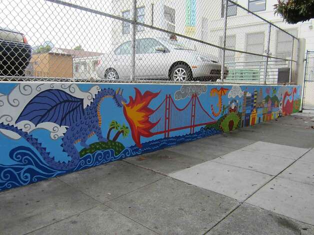 The first part of the mural at Buena Vista Horace Mann K-8 school was finished in 2011, before workers covered it with a coat of paint earlier this month. Photo: Courtesy Photo, Megan McMahon