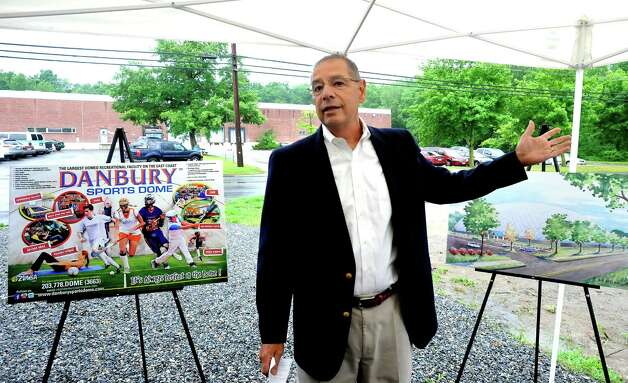 Frank Mariano, one of the directors of the Danbury Sports Dome, speaks during the groundbreaking ceremony Monday, June 25, 2012. Photo: Michael Duffy / The News-Times