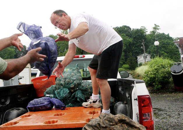 "Fisherman Robert Grandfield loads his pick up with the day's catch in Milford harbor on Monday, June 25, 2012. Grandfield tried to go out several times this morning but was delayed due to thunder and lightning. Grandfield saw lightning strike the mast of a  sailboat, a few hundred yards away, from the pilothouse of his boat ""Risky Business"". Photo: B.K. Angeletti / Connecticut Post Freelance"