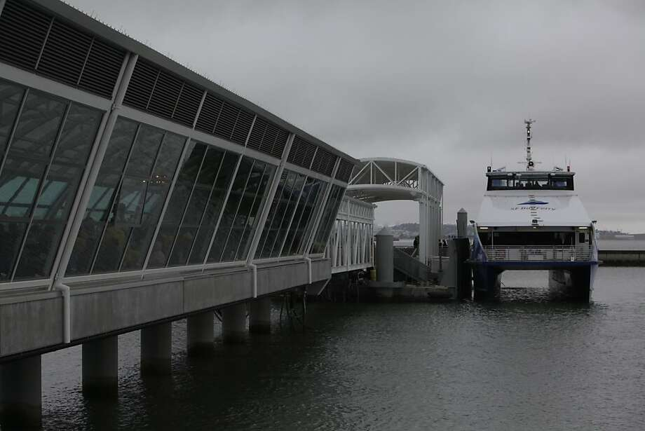 The ferry Gemini sits at the end of the Oyster Point Marina Ferry Terminal before taking passengers on a bay cruise during the San Francisco Bay Ferry South San Francisco Inaugural Celebration on Monday, June 4, 2012 in South San Francisco, Calif. Photo: Lea Suzuki, The Chronicle