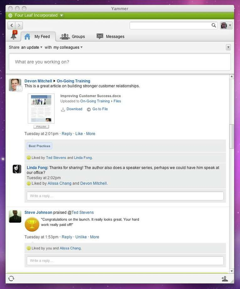 Yammer screen shot. Photo: Yammer