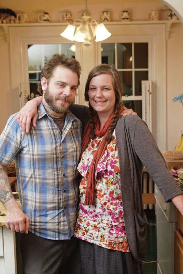 "Nick and Britin Foster run a vegetarian cafe, All Good Bakers (the award-winning pick for ""Best New Restaurant"" in the Times Union's 2012 Best of Poll). But at home, they dig decidedly non-vegetarian fare. Read the story here, and try out the couple's recipes here. Photo: Suzanne Kawola/life@home"
