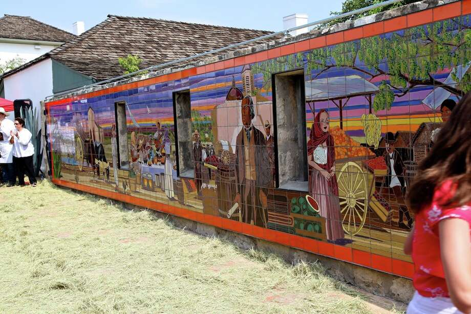 The latest public art piece by Jesse Treviño, a 50-by-8 foot mural at the Casa Navarro State Historic Site, the former homestead of Texas patriot José Antonio Navarro. Photo: Xelina Flores-Chasnoff