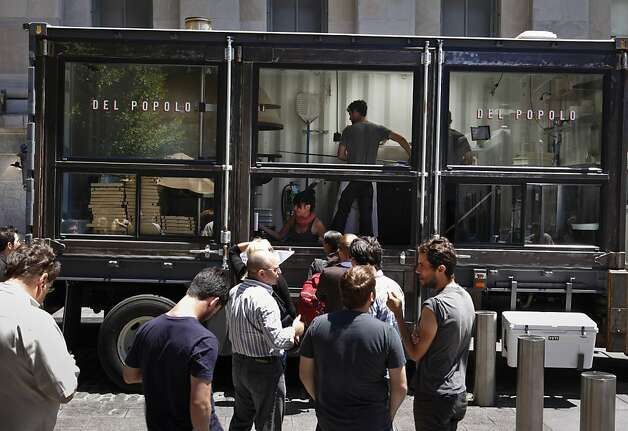 Jonathan Darsky's Del Popolo, a mobile pizzeria housed in a 25ft. shipping container, is seen on Thursday, June 7, 2012 at Mint Plaza in San Francisco, Calif. Photo: Russell Yip, The Chronicle