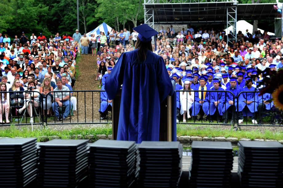 Keith Gordon, 19, speaks at the Henry Abbott Tech graduation ceremonies held Monday, June 25, 2012. Photo: Carol Kaliff / The News-Times