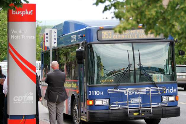 A Capital District Transportation Authority (CDTA) bus pulls up to a BusPlus station at Veeder and Nott Terrace in Schenectady, N.Y. (Dan Little/ Special to the Times Union) Photo: Dan Little / 00018221A