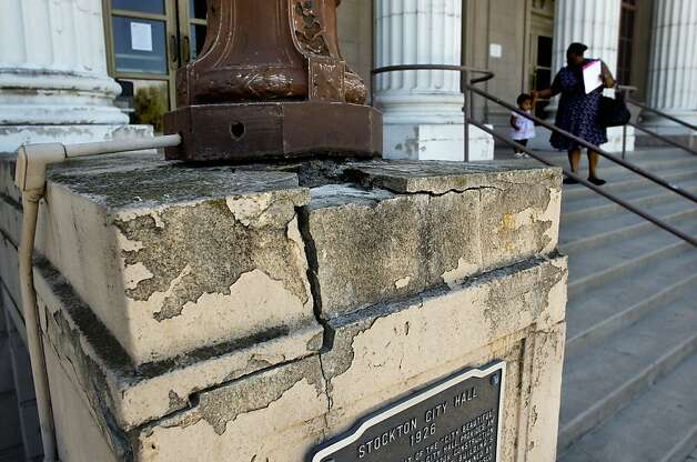 The crumbling facade of City Hall,on Monday June 25, 2012, in Stockton, Calif.  Stockton, is expected to become the biggest city in American history to file for bankruptcy. Photo: Michael Macor, The Chronicle