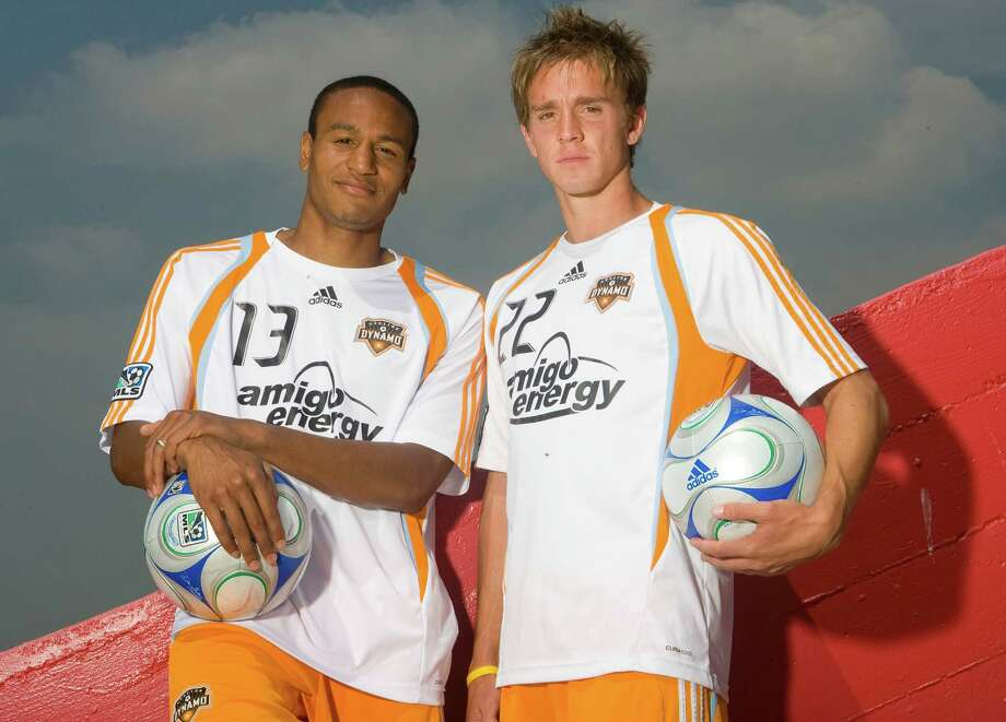 The Houston Dynamo's Ricardo Clark (left) and Stuart Holden (right) pose for a portrait during the team's media day at the University of Houston's Robertson Stadium Thursday, March 19, 2009, in Houston.  ( James Nielsen / Chronicle ) Photo: James Nielsen / Houston Chronicle