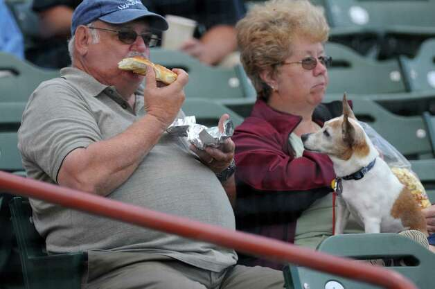 "Winnie, a 12 year old Jack Russell Terrier, watches as Ron Martino of Ballston Lake eats, as his wife Gail holds her, on ""Bar in the Park"" night during the Tri-City ValleyCats game against the  Lowell Spinners on Monday night June 25, 2012 in Troy, NY.(Philip Kamrass / Times Union) Photo: Philip Kamrass / 00018017A"