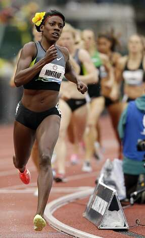 Alysia Montano leads the way in the women's 800m final at the U.S. Olympic Track and Field Trials Monday, June 25, 2012, in Eugene, Ore. (AP Photo/Marcio Jose Sanchez) Photo: Marcio Jose Sanchez, Associated Press