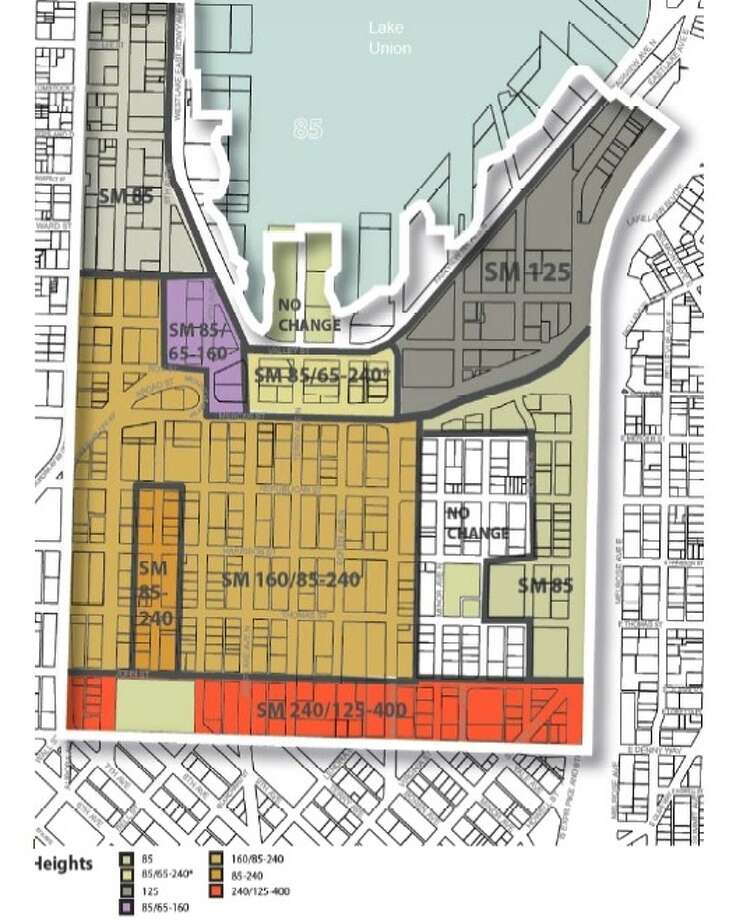 Proposed South Lake Union height limits. Photo: City Of Seattle