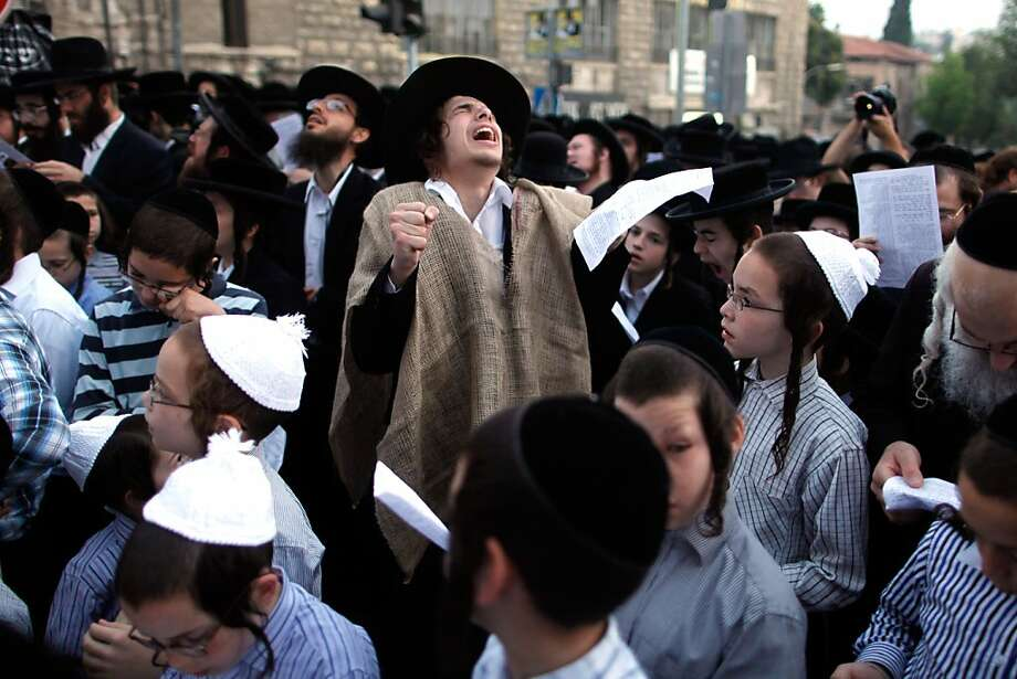 Ultra-Orthodox Jewish boys protest against Tal Law replacement on June 25, 2012 in Jerusalem, Israel. The Tal Law, which exempts ultra-Orthodox yeshiva students from mandatory military service, was declared unconstitutional by the High Court in February, and is due to expire in August. Photo: Lior Mizrahi, Getty Images