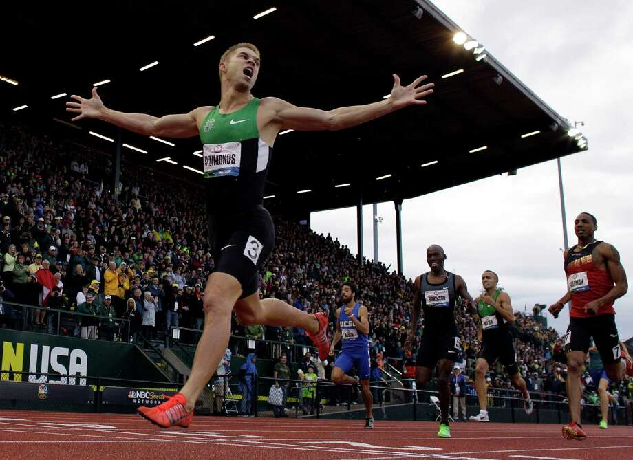 Nicholas Symmonds reacts after winning the men's 800m finals at the U.S. Olympic Track and Field Trials Monday, June 25, 2012, in Eugene, Ore. (AP Photo/Matt Slocum) Photo: Matt Slocum, Associated Press / AP