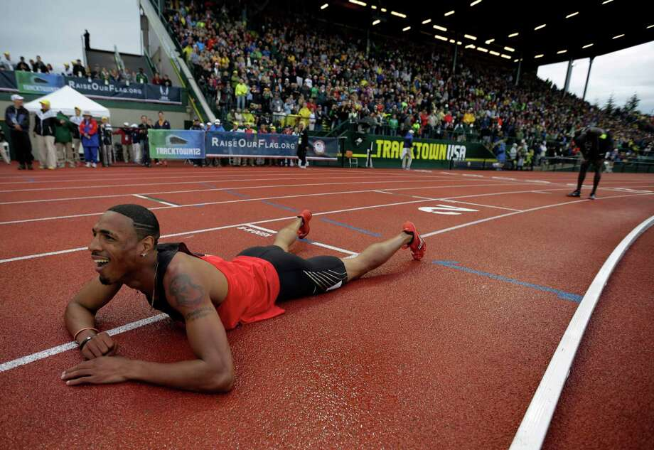 Duane Solomon Jr., reacts after the men's 800m finals at the U.S. Olympic Track and Field Trials Monday, June 25, 2012, in Eugene, Ore. (AP Photo/Matt Slocum) Photo: Matt Slocum, Associated Press / AP