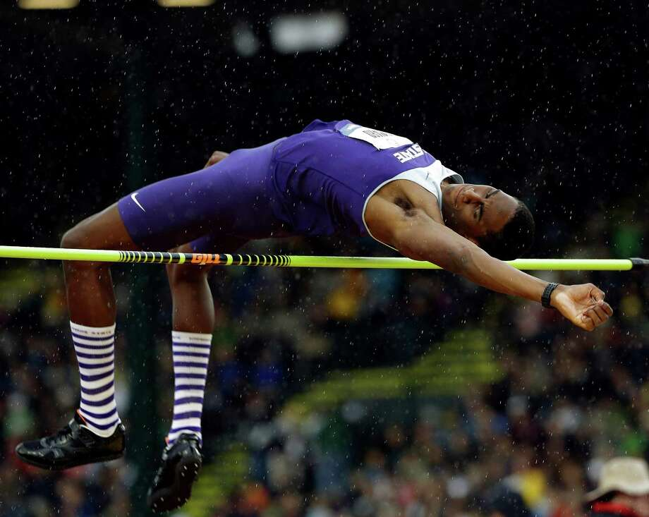 Erik Kynard Jr., participates in the men's high jump finals at the U.S. Olympic Track and Field Trials Monday, June 25, 2012, in Eugene, Ore. (AP Photo/Eric Gay) Photo: Eric Gay, Associated Press / AP