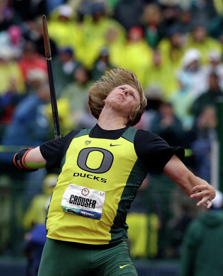 Samuel Crouser competes in the men's javelin throw finals at the U.S. Olympic Track and Field Trials Monday, June 25, 2012, in Eugene, Ore. (AP Photo/Charlie Riedel) Photo: Charlie Riedel, Associated Press / AP