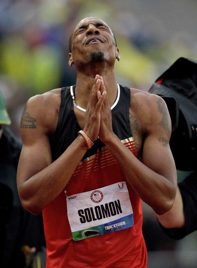 Duane Solomon Jr., reacts after the men's 800m finals at the U.S. Olympic Track and Field Trials Monday, June 25, 2012, in Eugene, Ore. (AP Photo/Marcio Jose Sanchez) Photo: Associated Press