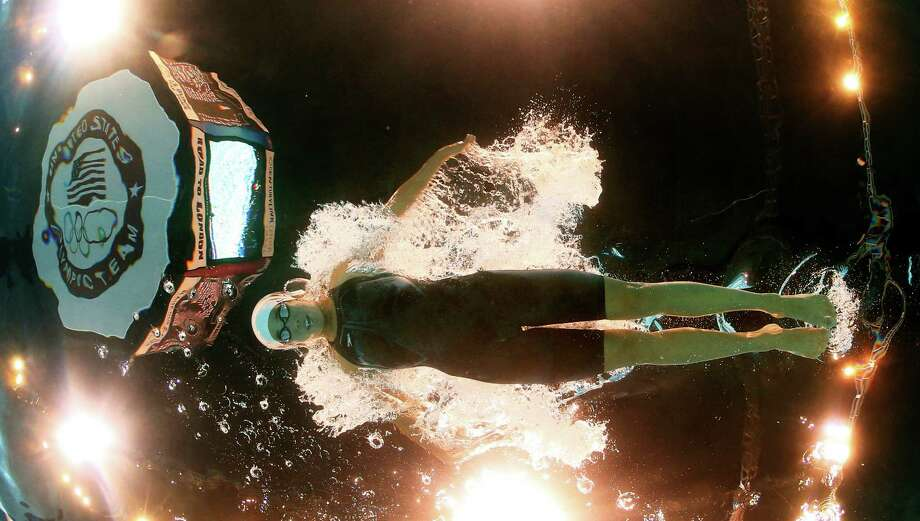 Maya Dirado swims in the women's 400-meter individual medley preliminaries at the U.S. Olympic swimming trials, Monday, June 25, 2012, in Omaha, Neb. Photo: David Phillip, Associated Press / AP