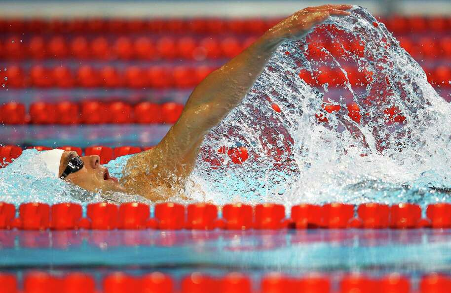 Michael Phelps competes in preliminary heat 10 of the Men's 400 m Individual Medley during the 2012