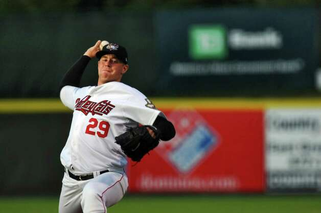 Tri-City ValleyCats Aaron West pitches during a game against the  Lowell Spinners on Monday night June 25, 2012 in Troy, NY.(Philip Kamrass / Times Union) Photo: Philip Kamrass / 00018017A