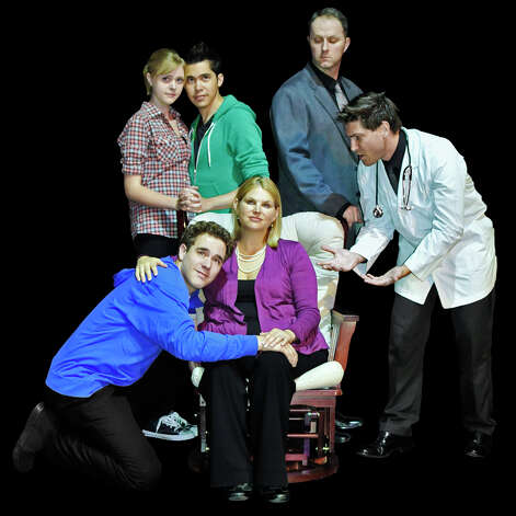 "The cast of the Woodlawn Theatre's staging of ""Next to Normal"" comprises, clockwise from top left, Connelly Weher, Ben Carlee, Josh Harris, Robert Vance, Beth Erwin and Matthew Lieber. Courtesy Woodlawn Theatre"