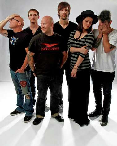 Rock band/performance troupe Puscifer -- from left, Maynard James Keenan, Jeff Friedl, Mat Mitchell, Matt McJunkins, Carina Round, Josh Eustis Photo: Courtesy Tim Cadiente