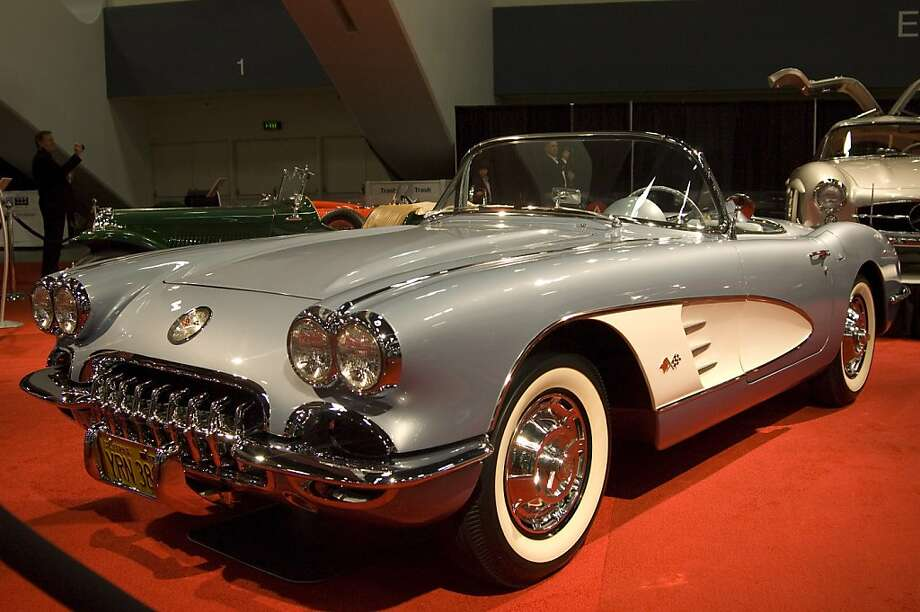 "1959 Chevrolet Corvette. The 1959 Corvette was America's sports car with big attitude thanks to the expanding line of ""small block"" v8 engines first introducted  in 1955. This light weight fiberglass 2 seater is powered by a 283 cubic inch v8 engine with2 four-barrel carburetors producing 270 hp. All that power goes through a heavy-duty 4 seed floor shift manual gear box and a ""posi traction"" rear diffeential. Credit goes to Zora-Arkus Duntov for the development of this 1950's icon. Photo: Stephen Finerty"