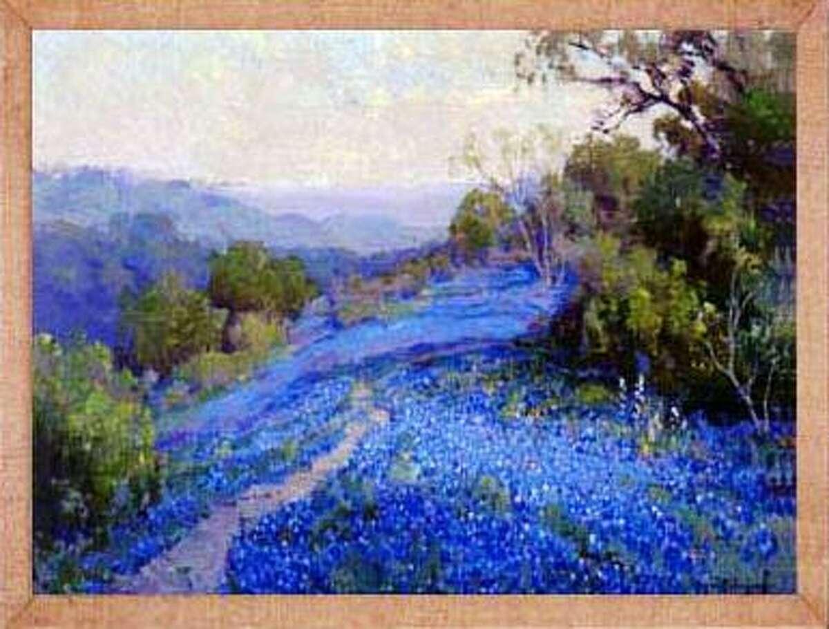A bluebonnet painting by Julian Onderdonk.