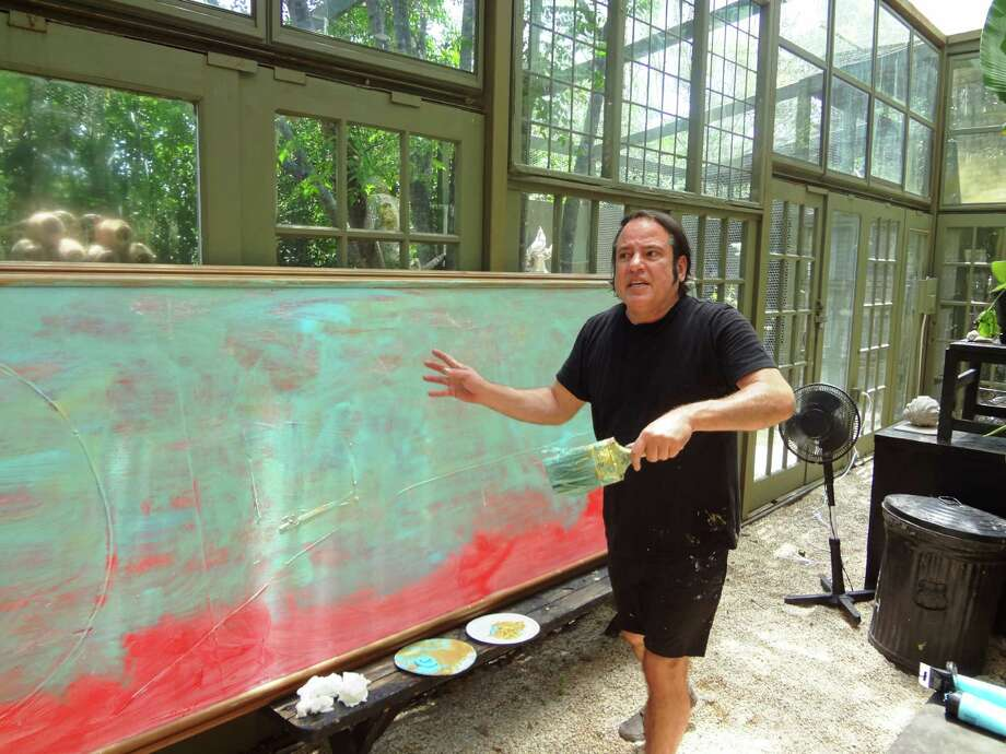 "San Antonio's Franco Mondini-Ruiz is transforming a large canvas into an homage to ""bluebonnet painter"" Julian Onderdonk. Photo: Steve Bennett, San Antonio Express-News"
