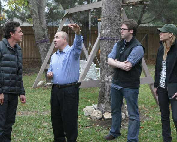 "Mauricio Ruiz, from left, discusses a UFO sighting with James Fox, Ben McGee and Erin Ryder in the Texas episode of ""Chasing UFOs,"" premiering Friday. Photo: National Geographic Channels / Snake Oil Productions, Photographer / National Geographic Channels/ Snake Oil Productions"