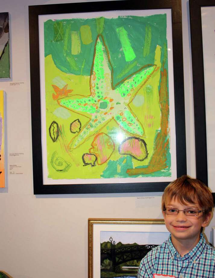 Soren Covell was awarded Silvermine's Best in Show award (ages 5-10) for his work ìGrass Green Starfish.î New Canaan, Conn. Photo: Contributed Photo