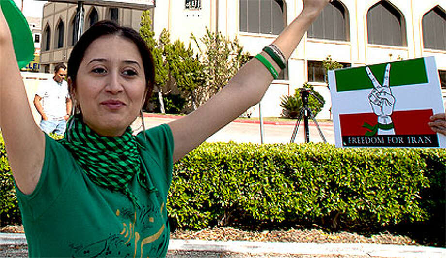 Gelareh Bagherzadeh participated in a 2009 protest outside the Islamic Education Center in Houston.