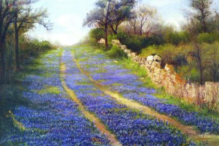 """Image of an oil painting by San Antonio artist, Helen Ferne Slimp (1890-1995), titled """"Bluebonnet Lane"""" shows what is now Hildebrand Avenue west of Broadway. It was painted circa 1935. The natural rock outcroppings in the painting are still visible in some areas along Hildebrand. Photo: Courtesy"""