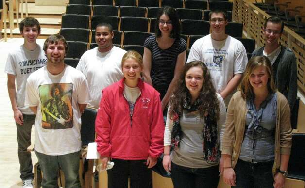 Albany Pro Musica's high school apprentices participated in the ?John Brown?s Body? concert at EMPAC. They are, back row: Jacob James, Kavon Silas, Claire Ladd, Thomas Downey and Eugene Posniewski. Front row: Eric Neuls, Skylar Mead, Giovanna Savoie, Abigail Cowan. The Artist Apprenticeship Program began in 1998 and now includes both vocal and instrumental students. (Deirdre Michael)