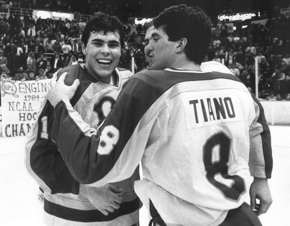 Hand out photo of Adam Oates celebrates RPI's hockey national championship, 1985. RPI photo.