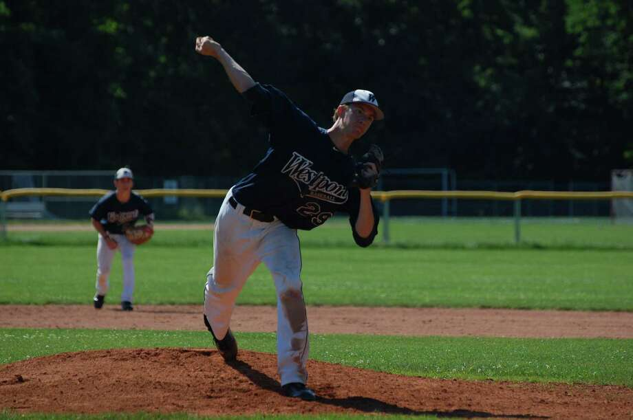 Westport Senior Legion's Jimmy Kopack prepares to deliver a pitch against Ridgefield Sunday. Kopack pitched a complete game, which Ridgefield won 4-3 with an unearned run in the top of the eighth inning. Photo: Eric Essagof / For The Westport