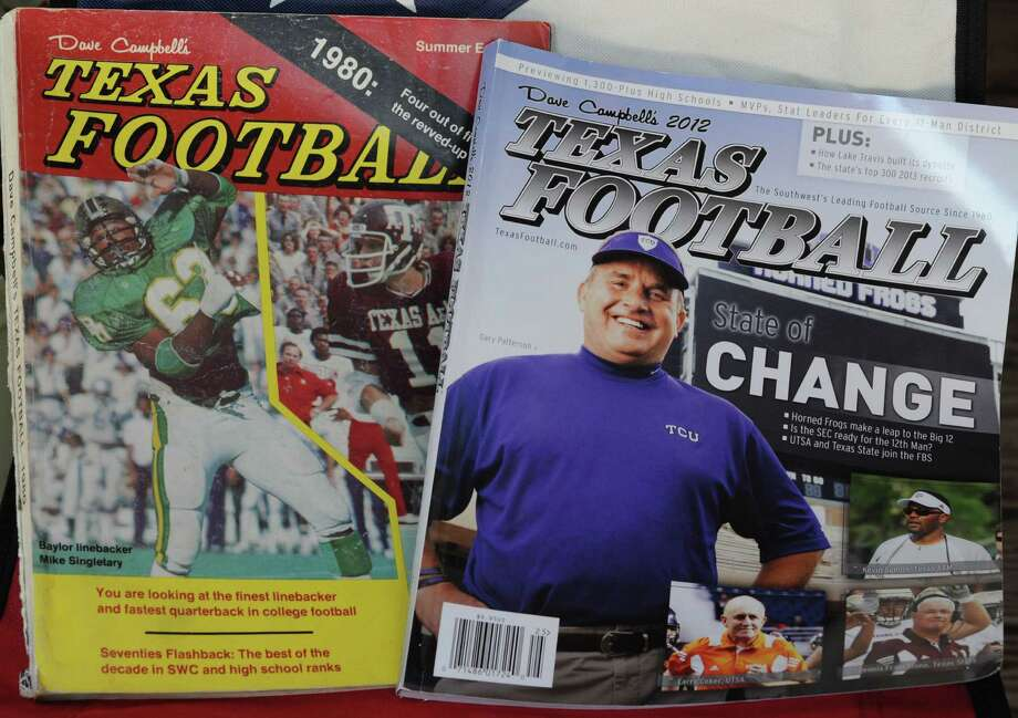 """The 1980 edition of """"Dave Campbell's Texas Football Magazine"""" cost $3.75 with Baylor's Mike Singletary and Texas A&M's Mike Mosley on the cover, left. In 2012, the cost is $9.95 with TCU coach Gary Patterson and others up front. Photo: L. Scott Hainline / The Chronicle"""
