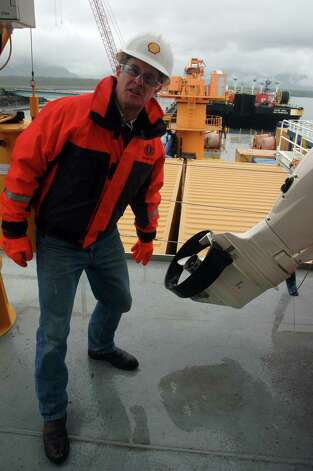 Geoff Merrell, superintendent of emergency response for Shell Alaska, shows one of the distinctions on the Nanuq -- and its support vessels -- that make it better equipped for Arctic conditions. This life boat has a collar around its propeller to prevent ice from clogging it. It also is made of stainless steel instead of bronze. Photo: Jennifer A. Dlouhy, The Houston Chronicle