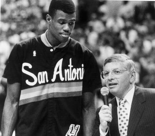 David Robinson and  David Stern,Commissioner of the NBA came to deliver Rookie of the year trophy  April 28, 1990. Dennis Dunleavy/Express-News (SAN ANTONIO EXPESS-NEWS)