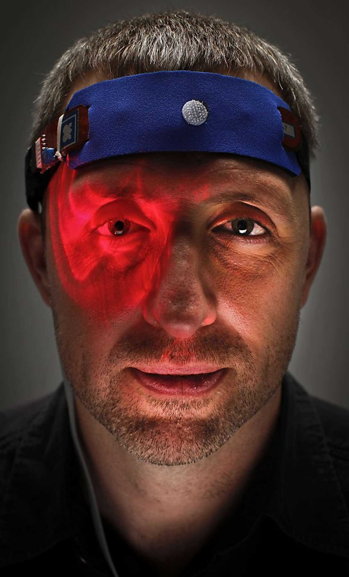 Dave Asprey, seen on Wednesday, June 6, 2012 in San Francisco, Calif., is considered a guru of the biohacking movement. Asprey has helped develop a prototype HEG (Hemoencephalography ) neurofeedback device that helps train the brain, and he also uses a soliton laser which helps with healing.