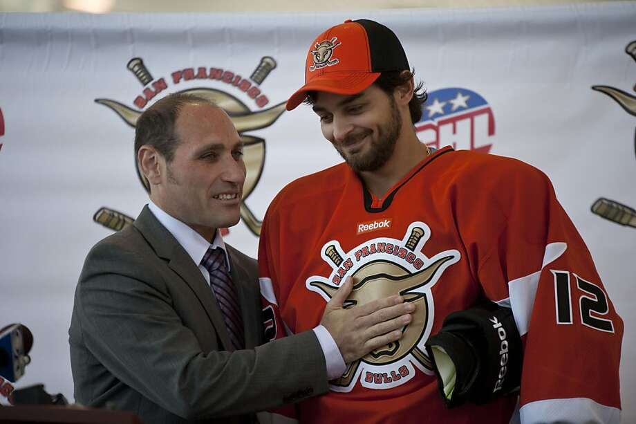 Pat Curcio, Coach of The San Francisco Bulls Professional Hockey team congrats Forward Peter Sivak at Yerba Buena Ice Rink on Tuesday, June 26, 2012 in San Francisco, Calif. Photo: Yue Wu, The Chronicle