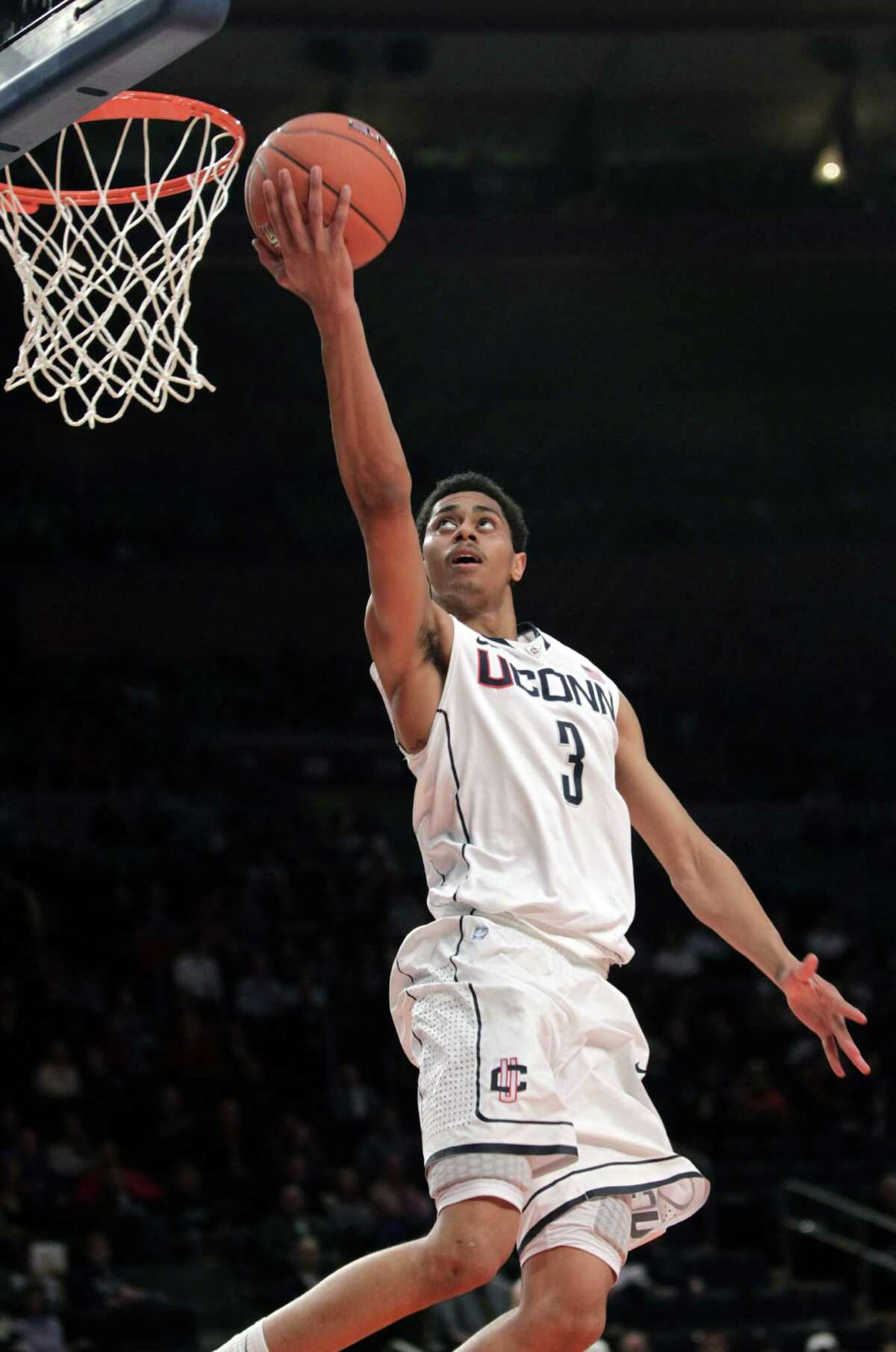 Connecticut's Jeremy Lamb takes the ball to the hoop during the first round of the Big East NCAA college basketball conference tournament against the DePaul in New York, Tuesday, March 6, 2012. (AP Photo/Seth Wenig)