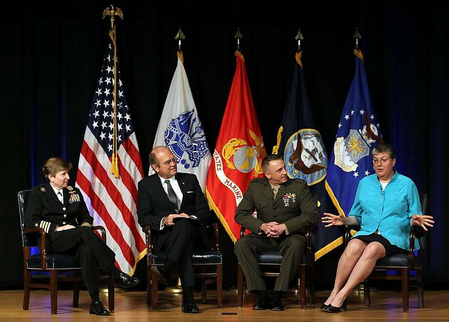 "WASHINGTON, DC - JUNE 26:  (2nd L–R) U.S. Air Force Principal Deputy General Counsel Gordon O. Tanner, Captain M. Matthew Phelps of Marine Corps Recruit Training Regiment, and member of board of visitors of U.S. Military Academy at West Point Brenda S. ""Sue"" Fulton participate in a panel discussion on ""The Value of Open Service and Diversity,"" moderated by Navy Captain Jane E. Campbell (L), during an event to observe ""Lesbian, Gay, Bisexual and Transgender Pride Month"" June 26, 2012 at the Pentagon in Arlington, Virginia. It was the first-ever LGBT event held at the Pentagon.  (Photo by Alex Wong/Getty Images) Photo: Alex Wong, Getty Images"